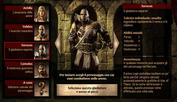 creazione gladiatore war of titans