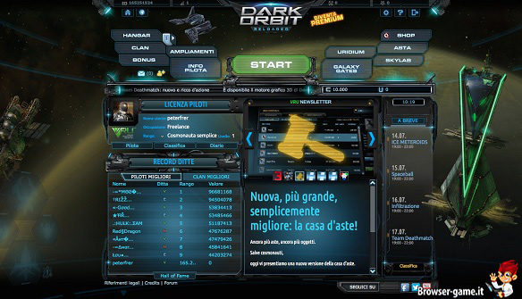 menù Dark Orbit Reloaded
