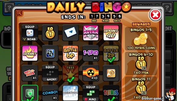 Daily Bingo in Tetris Battle