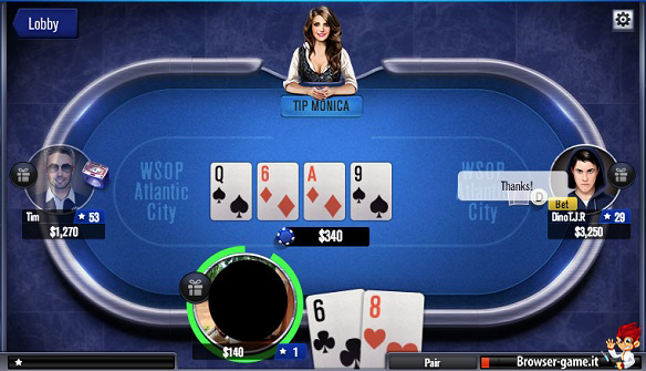Tavolo e carte World Series of Poker